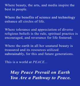 Pathways To Peace Vision Card - Marilyn King, Way Beyond Sports - WayBeyondSports.com